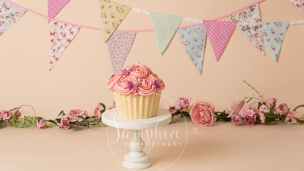 Giant cupcake cake smash session pink flowers bunting birthday photo Samphire sussex
