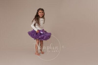 Samphire Photography studio portrait photo tutu purple Sussex