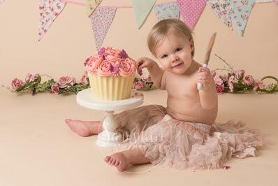 birthday Cake Smash Giant Cupcake pink bunting flowers tutu photo horsham sussex