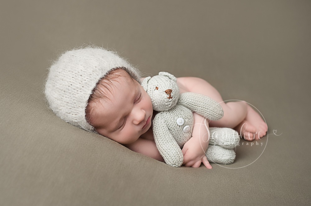 baby boy newborn photographer studio brown bear knitted Samphire Sussex