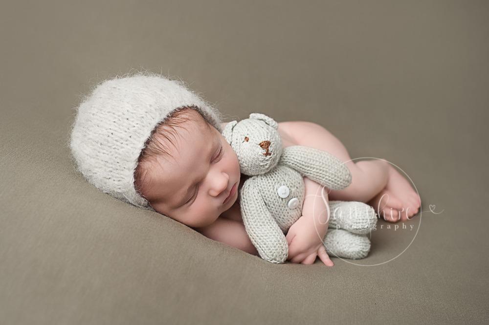 baby boy newborn photographer studio brown bear knitted Samphire Sussex