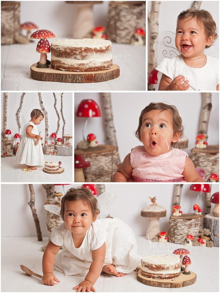 montage bespoke first birthday cake smash baby girl portraits woodland fairy toadstools by Samphire Photography Horsham