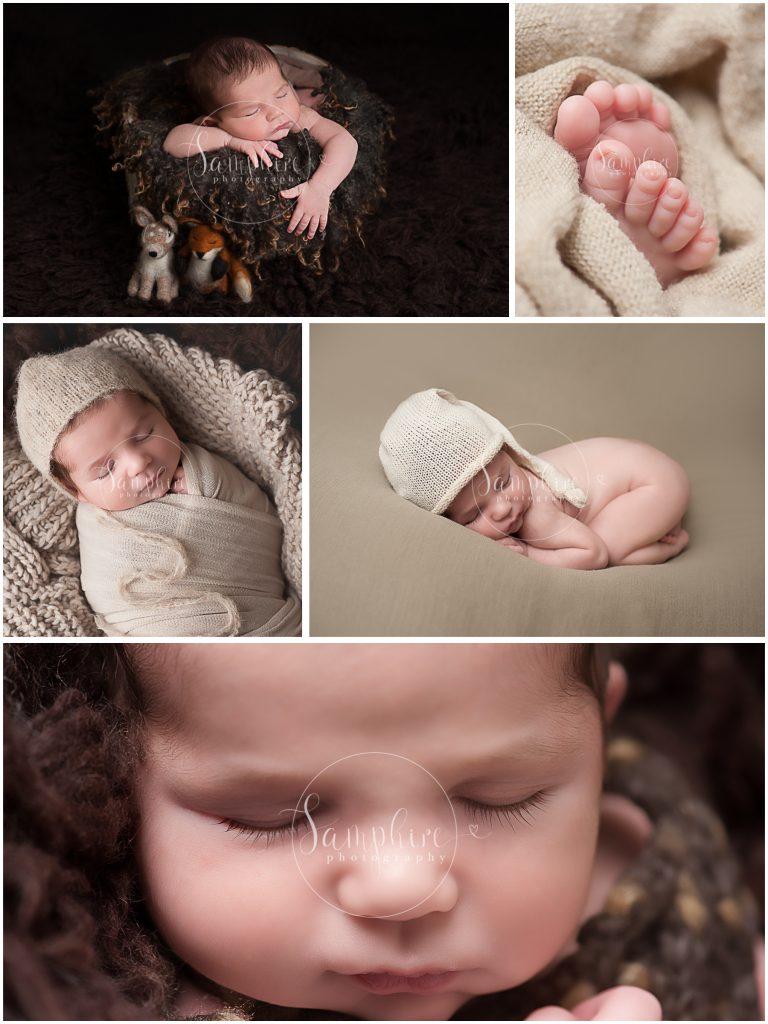 Horsham Brighton newborn boy browns creams montage eyelashes woodland layers hat