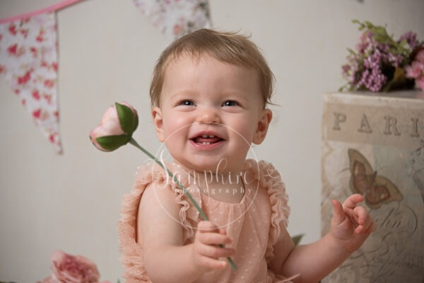 Samphire Photography cake smash birthday studio portraits vintage pinks purples flowers girl