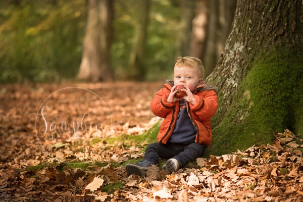autumn portraits location leaves woodland boy family apple Samphire Photography Sussex