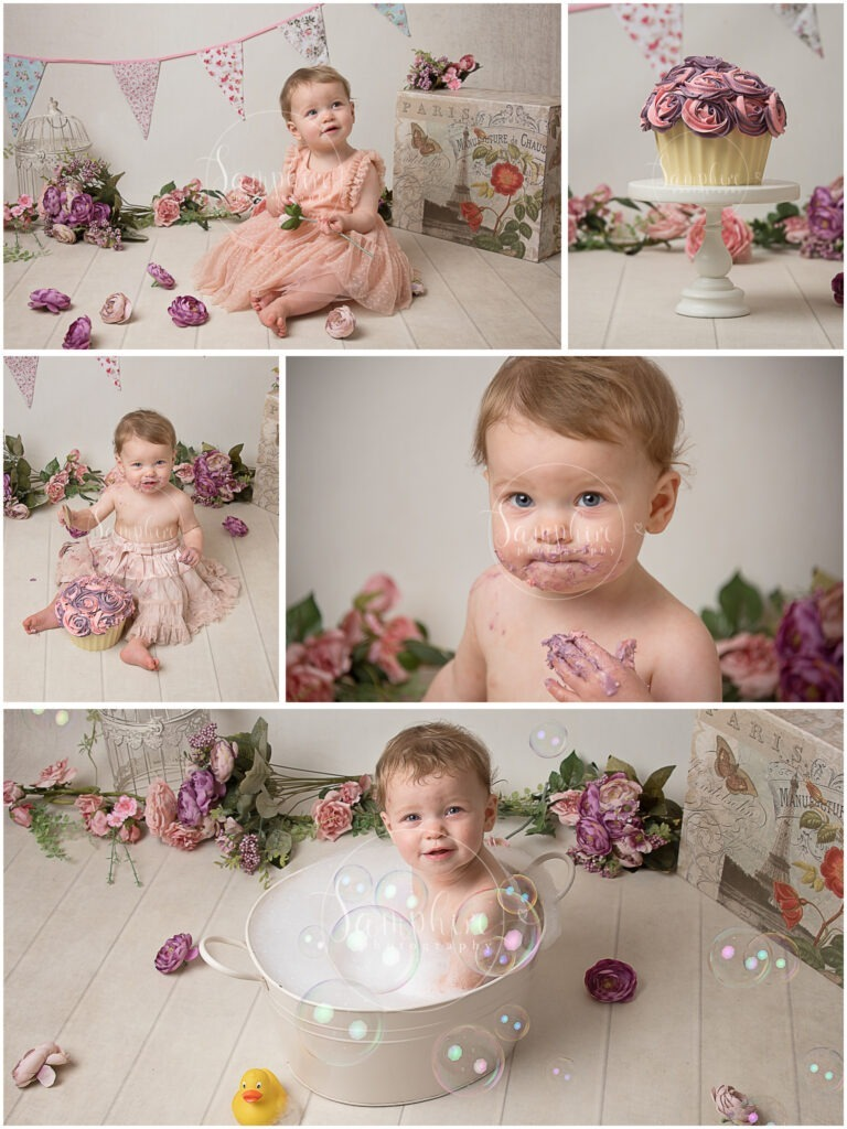 Cake Smash bespoke vintage studio portraits pink purple girl first birthday Samphire Photography