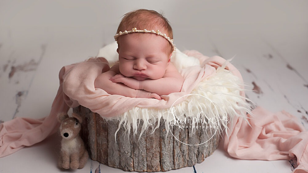 baby safety newborn girl portrait composite image needle felt Samphire Photography Horsham