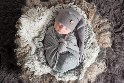 newborn boy portrait wrapped layers greys hat Samphire Photography baby safety temperature