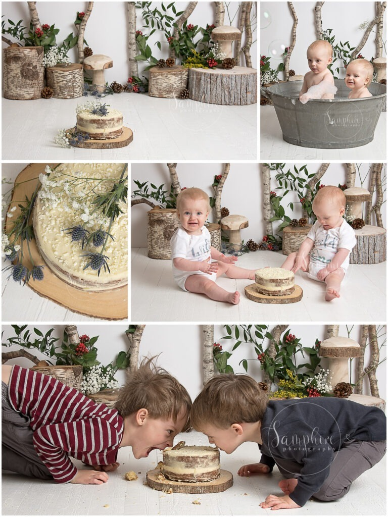 cake smash for twins with siblings brothers Where the Wild Things Are by Samphire Photography Horsham