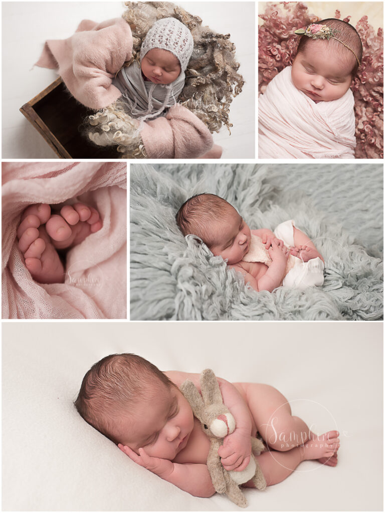 Samphire Horsham newborn photographer sleeping baby girl pink grey flokati bonnet rabbit toy