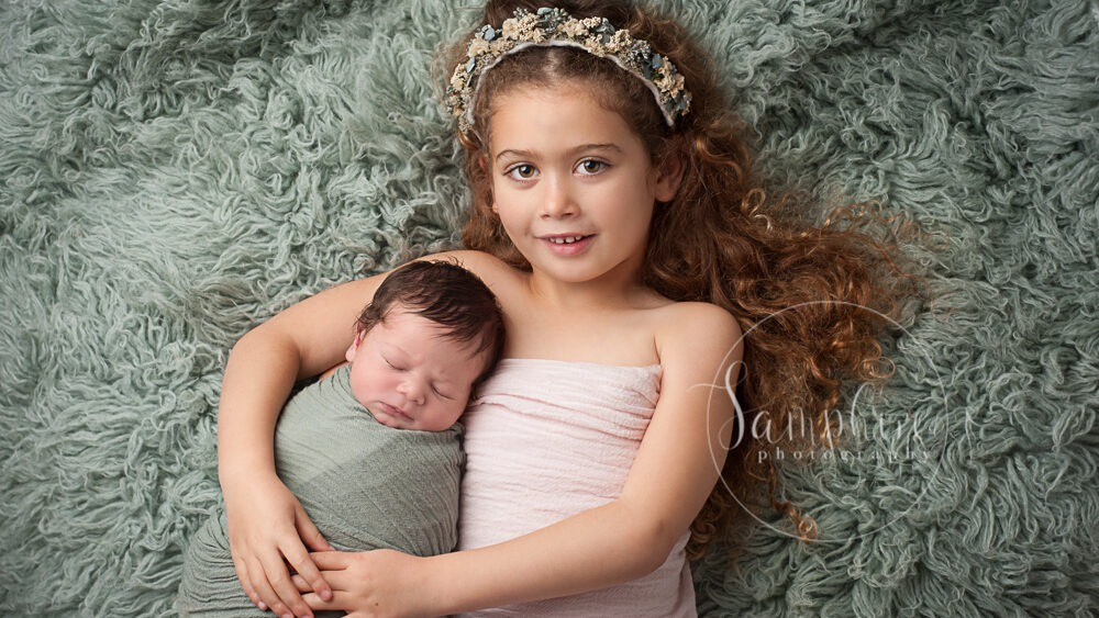 newborn studio portraits with sibling brother sister West Sussex Samphire Horsham Brighton