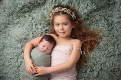 newborn studio portraits with sibling brother sister West Sussex Samphire Horsham Brighton