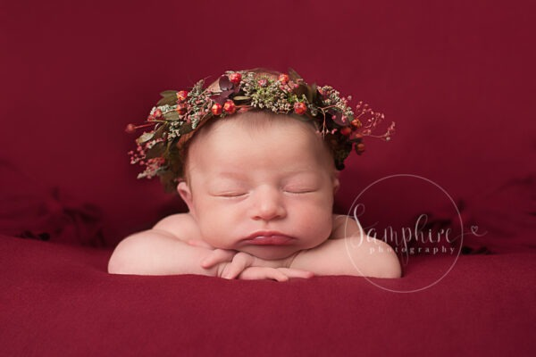 Beautiful studio newborn portraits with red by Samphire Photography Horsham Brighton newborn photographer Sussex