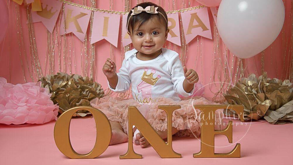 bespoke princess pink & gold cake smash balloons steyning horsham sussex Samphire Photography