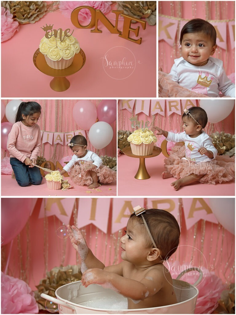 bespoke princess pink & gold cake smash studio potraits balloons steyning horsham sussex Samphire Photography