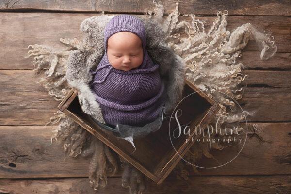 Horsham Newborn Photographer Samphire Photography studio portrait girl purple specialist hat
