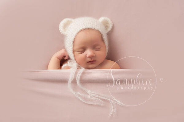 Newborn Photography West Sussex Samphire Photography girl specialist studio bear
