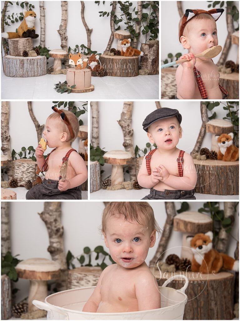 woodland fox cake smash first birthday studio portraits by Samphire Photography happy boy Horsham Brighton Sussex