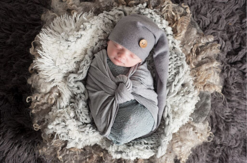 Samphire Photography Billingshurst Newborn Photographer Sussex baby boy portraits specialist wrapped sleeping