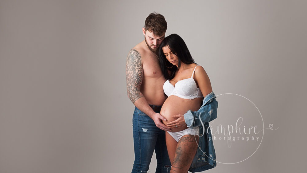 maternity portraits west sussex studio styled couples bump Samphire Photography