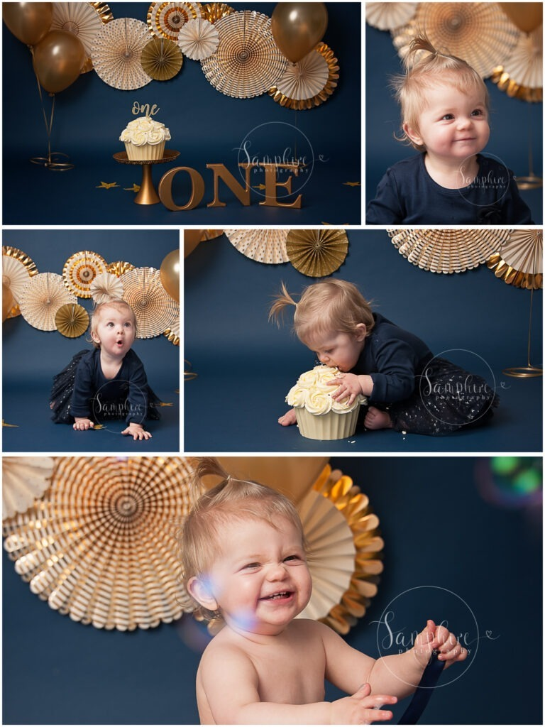 Bespoke Cake Smash in Navy and Gold with Samphire Photography