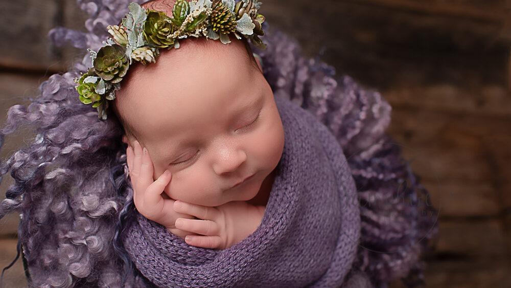 newborn photographer west sussex studio portrait baby girl purple Samphire Photography