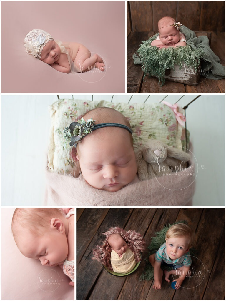 montage of baby girl studio portraits pink green floral lace newborn photographer near me Horsham Sussex by Samphire Photography