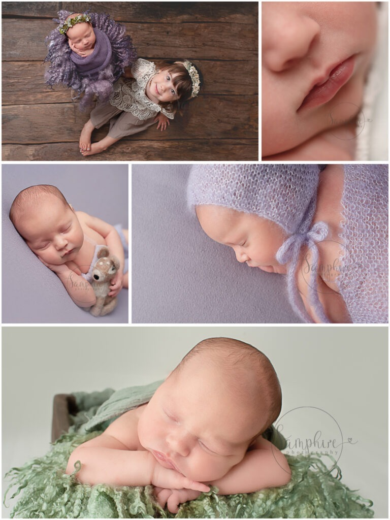 newborn photographer west sussex studio portraits baby girl purple green sibling sister Samphire Photography Horsham