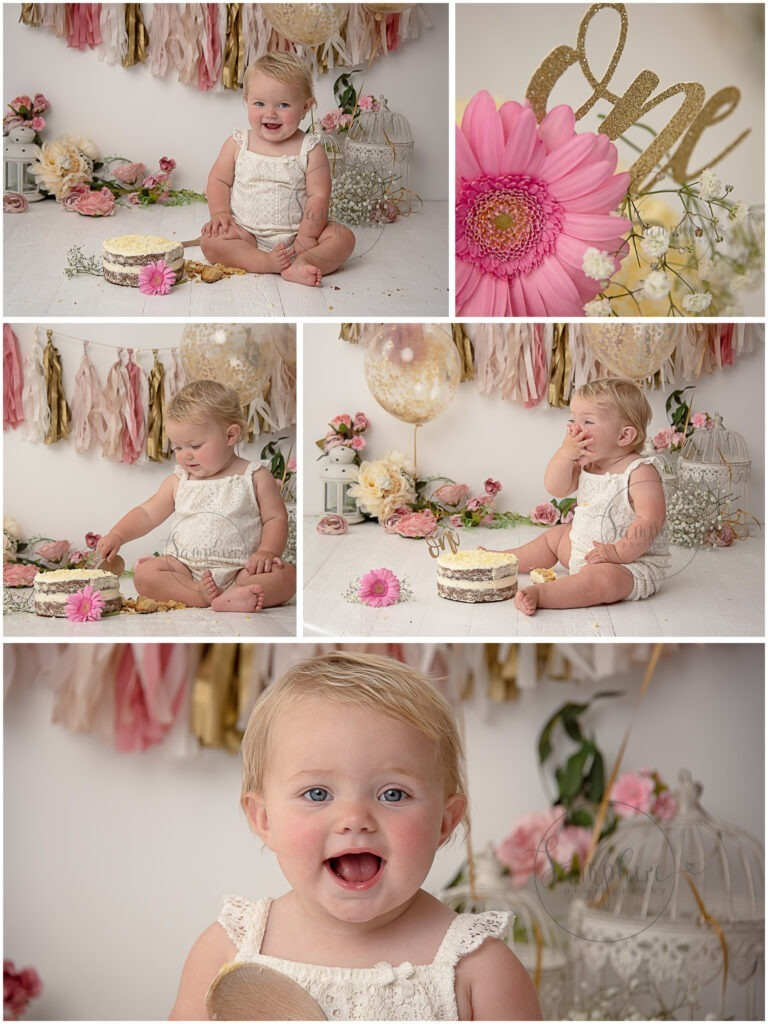 birthday girl pink gold floral cake smash west sussex by Samphire Photgraphy