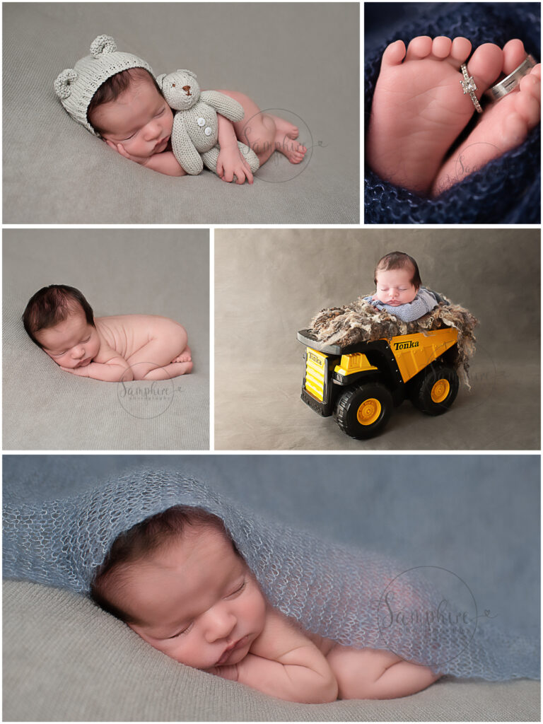 baby photographer Sussex experienced sleepy newborn boy blue knits layers tonka samphire photography