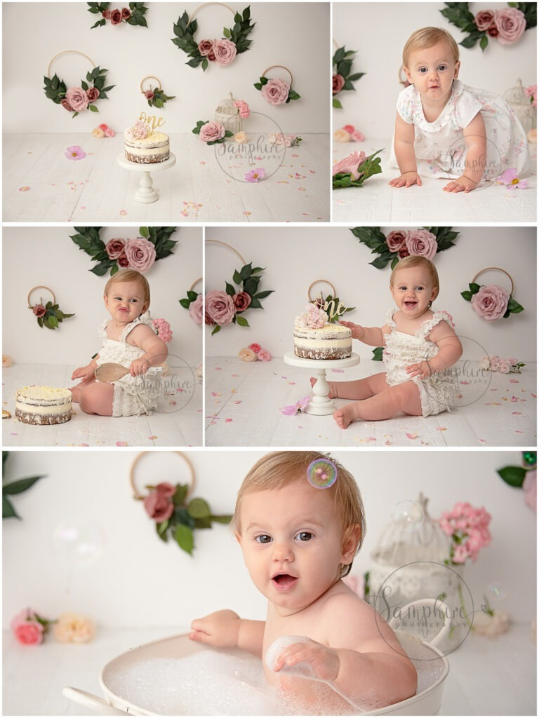 cake smash near me one year first birthday girl pink floral studio portraits Samphire Photography