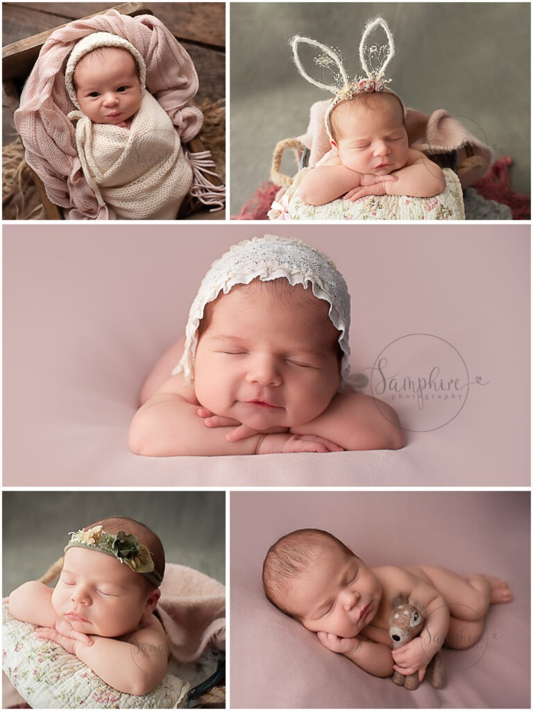 baby girl headband bonnet studio portrait pink newborn photographs Horsham Samphire Photography West Sussex