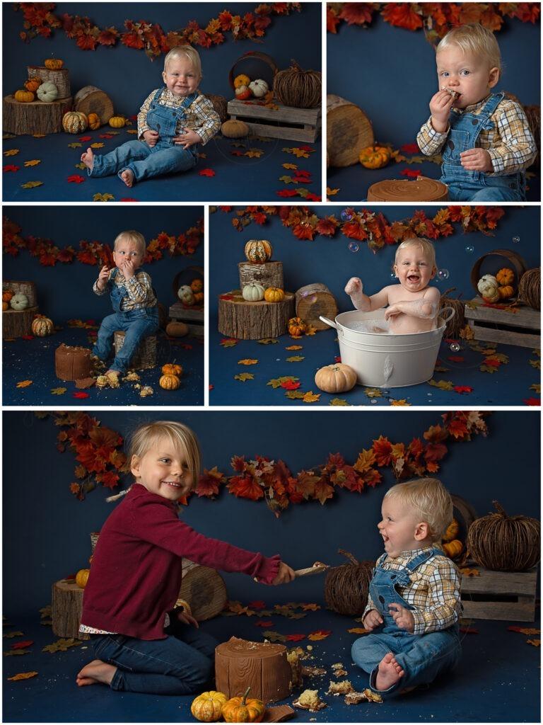 cake smash Autumn pumpkins leaves birthday boy photographer west sussex Samphire Photography