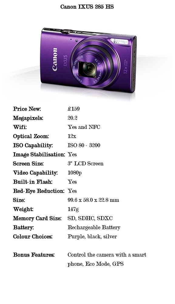 Comparison specifications for the Canon Ixus 285 HS cameras for under £150