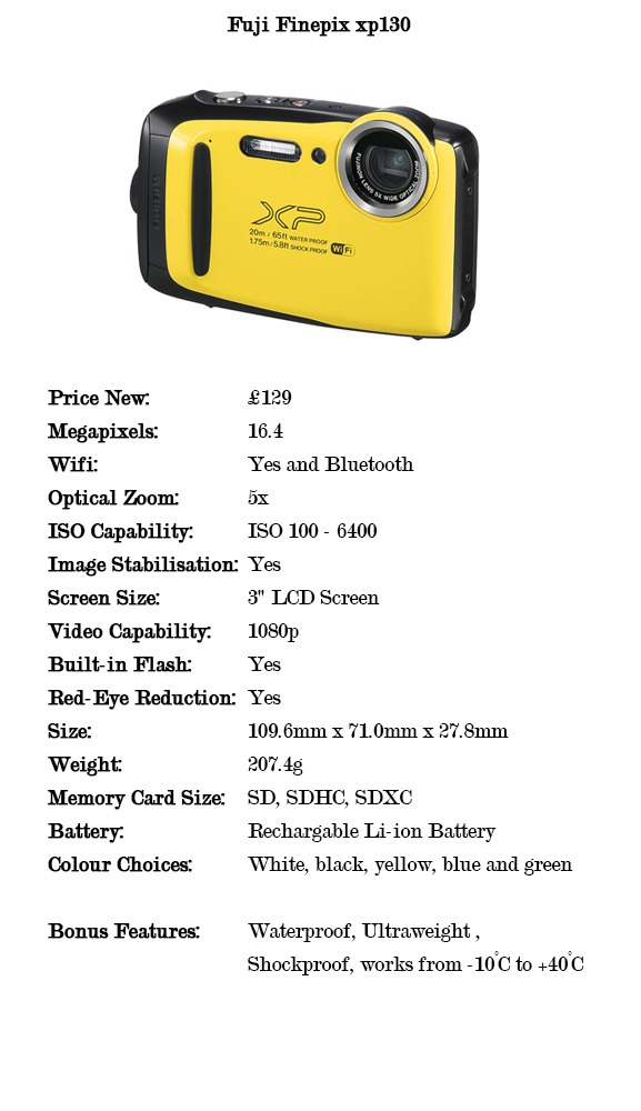 Comparison specifications for the fuji finepix xp130 cameras for under £150