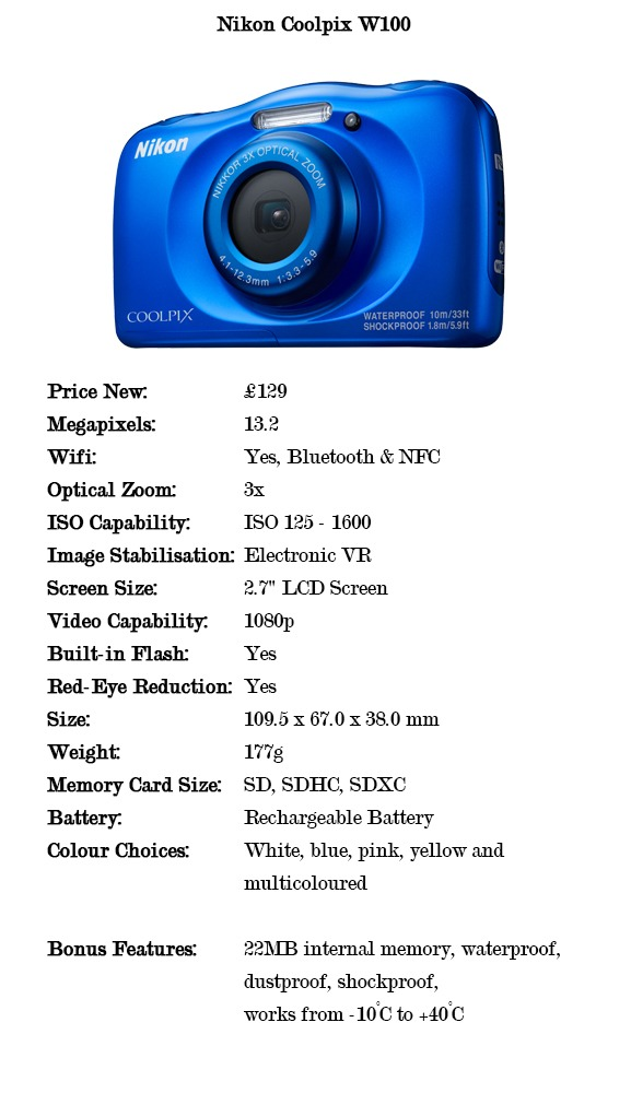 Comparison specifications for the Nikon Coolpix W100 cameras for under £150
