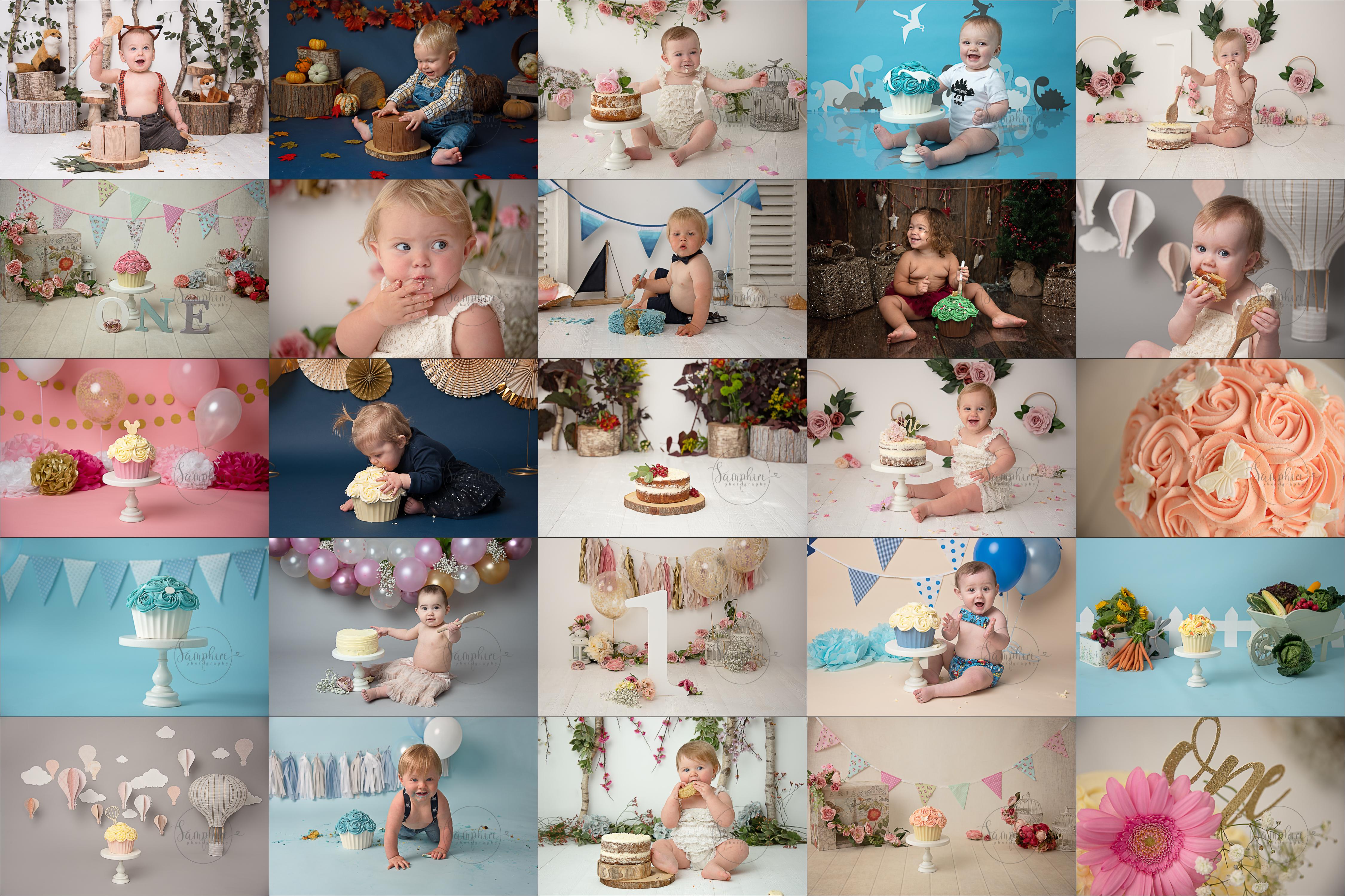 Samphire Photography Cake Smash bespoke West Sussex experienced newborn photographer Horsham