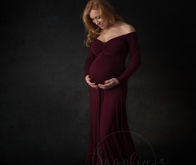 Maternity photography near me Sussex studio portraits Samphire Photography titian mother-to-be