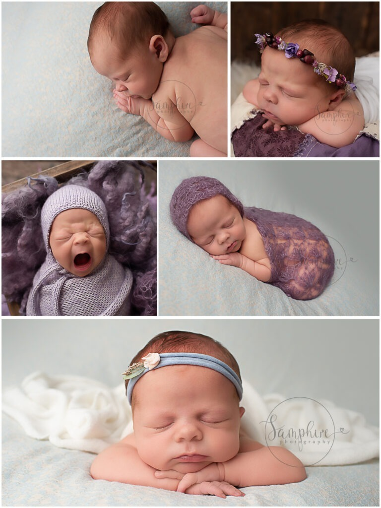 experienced newborn photographer sussex sleeping girl blue headband purple layers Samphire Photography