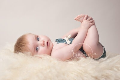 studio portrait milestone sitter session older baby photographer in Sussex Samphire Photography