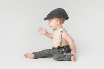 Studio portrait milestone sitter session older baby photographer in Sussex Samphire Photography Horsham