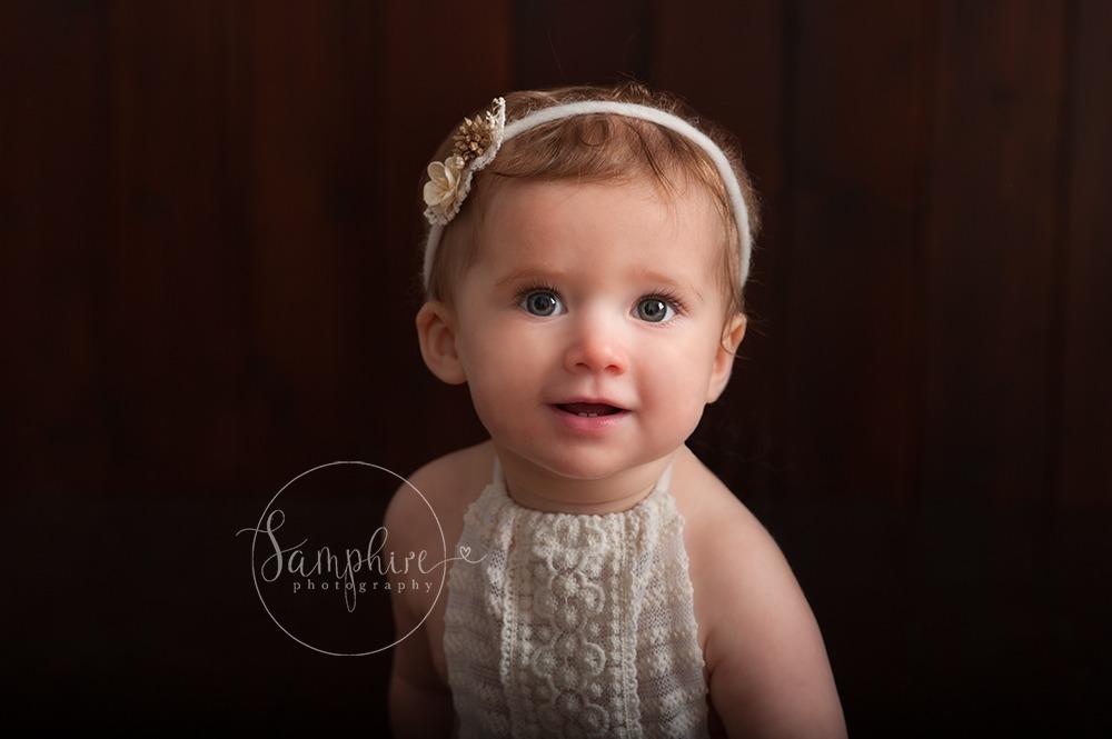 Studio portrait milestone sitter session older baby photographer in Sussex Samphire Photography Horsham