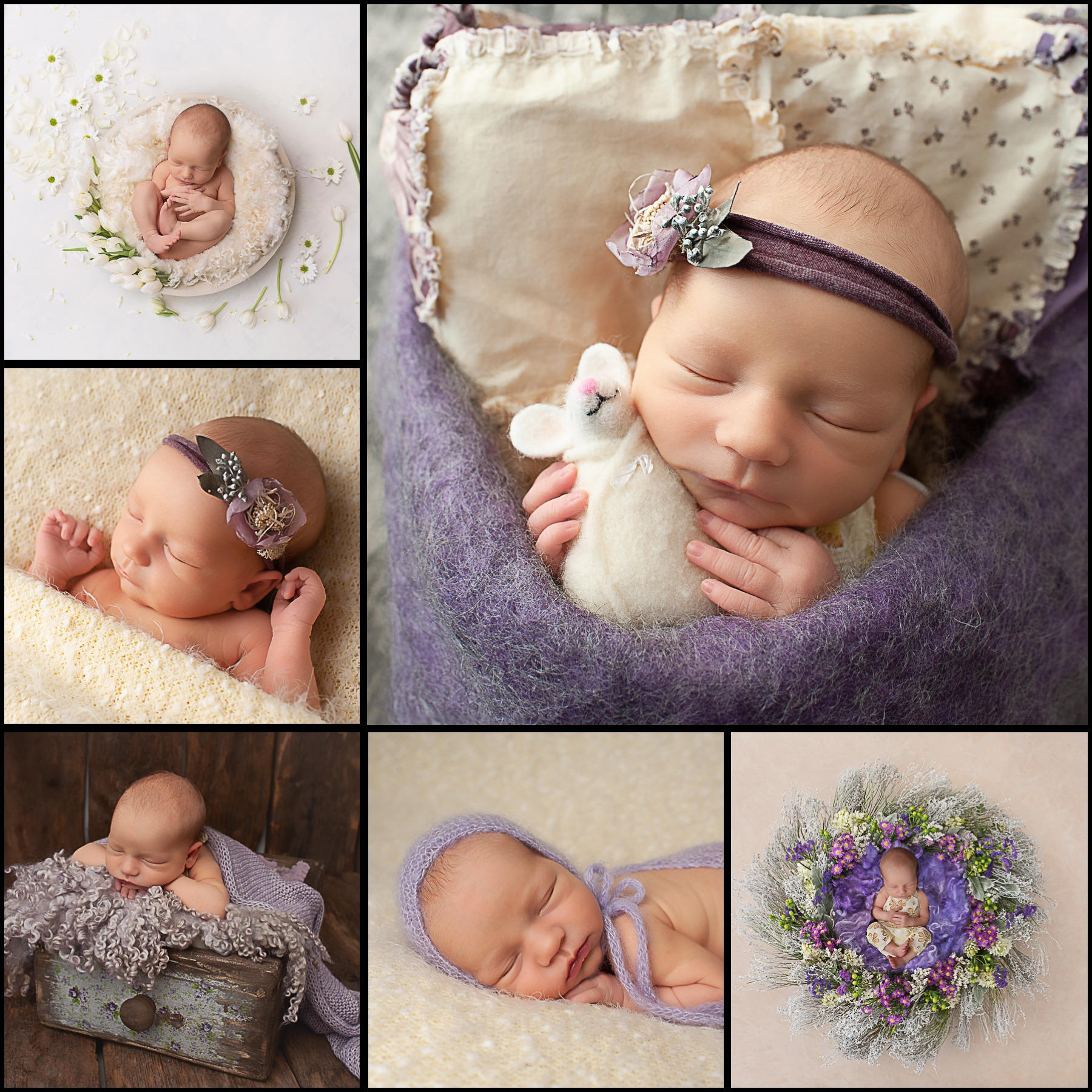 Samphire Photography Newborn Photographer Horsham experienced purple floral mouse sleeping baby girl