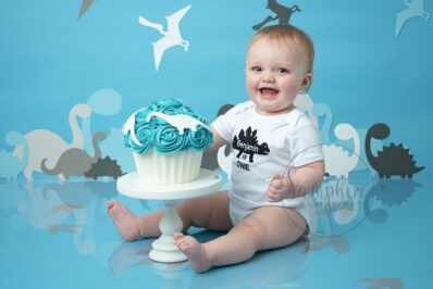 dino cake smash and splash birthday boy blue white Samphire Photography