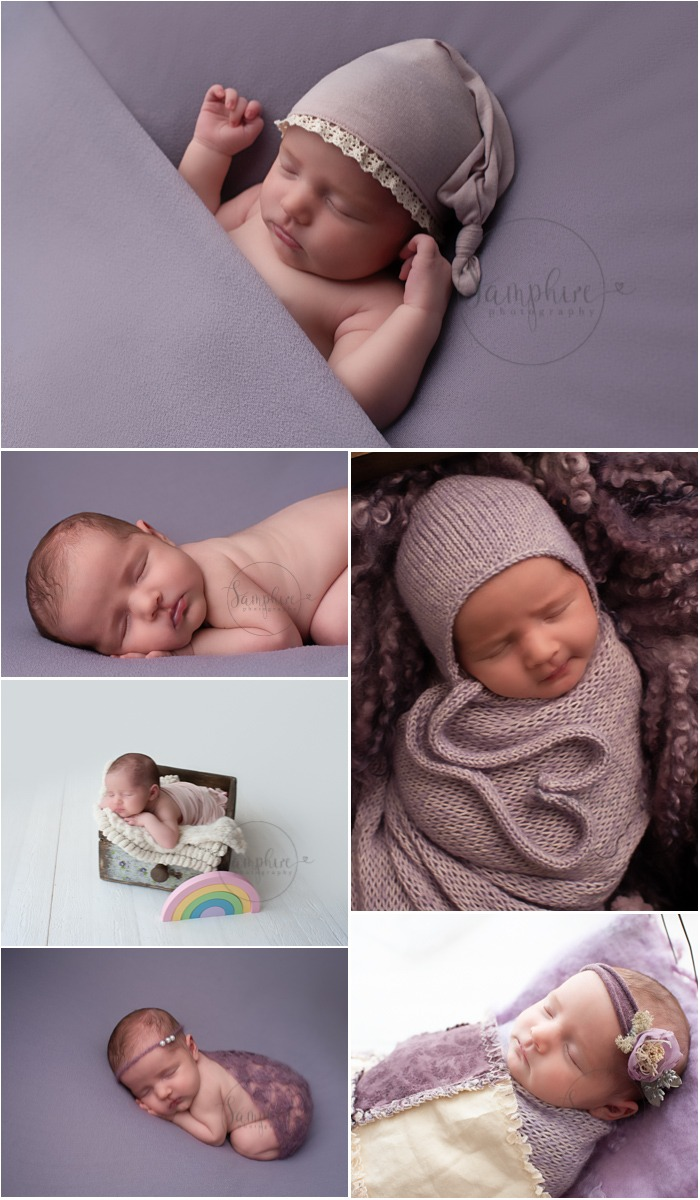 Sussex newborn baby pictures sleeping girl purple knits layers bonnets Samphire Photography