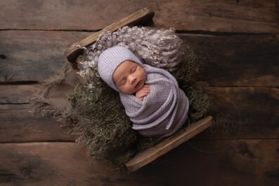 Professional Newborn Photographer Horsham asleep girl pink knit Samphire Photography
