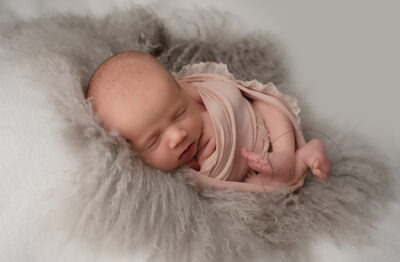 Professional Newborn Photographer Horsham asleep girl pink grey Samphire Photography