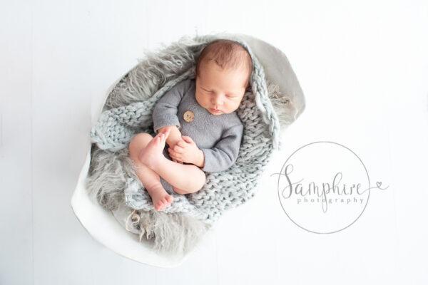 baby boy asleep grey white Newborn Photography West Sussex Samphire Photography