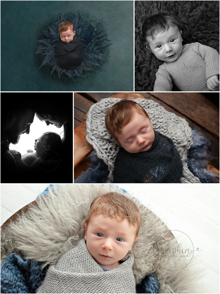 Baby photographer in Horsham smiling baby boy awake blue grey knitted romper flokati Samphire Photography