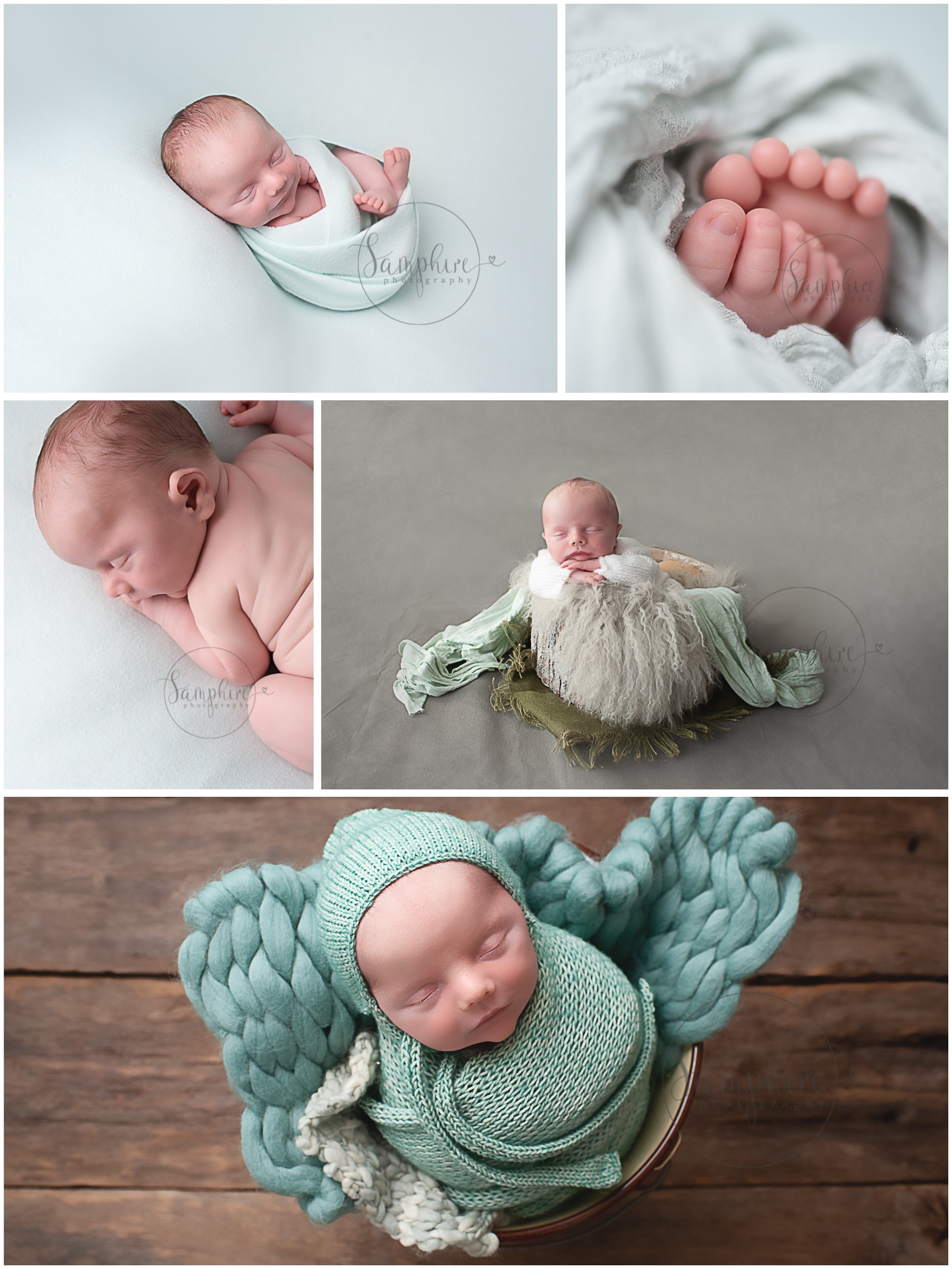 Newborn baby photographer in Sussex studio portraits boy asleep greys greens knits layers Samphire Photography